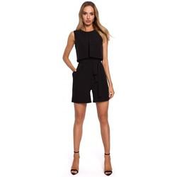 Kleidung Damen Overalls / Latzhosen Moe M574 Doppellagiger ärmelloser Strampler - schwarz