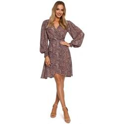 Kleidung Damen Kurze Kleider Moe M576 Wickelkleid mit Bishop-Ärmeln - Modell 1