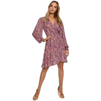 Kleidung Damen Kurze Kleider Moe M576 Wickelkleid mit Bishop-Ärmeln - Modell 2