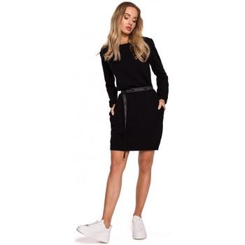 Kleidung Damen Kurze Kleider Moe M590 Pulloverkleid mit Logo-Gürtel - creme