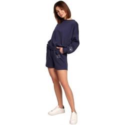 Kleidung Damen Shorts / Bermudas Be B186 Shorts mit Stickerei - blau