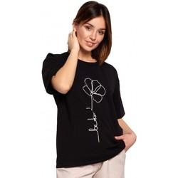 Kleidung Damen Tops / Blusen Be B187 T-Shirt mit Blumendruck - schwarz