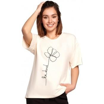 Kleidung Damen Tops / Blusen Be B187 T-shirt mit Blumendruck - creme