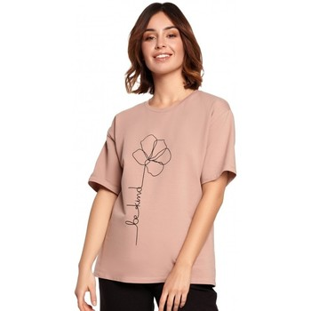 Kleidung Damen Tops / Blusen Be B187 T-shirt mit Blumendruck - mocca