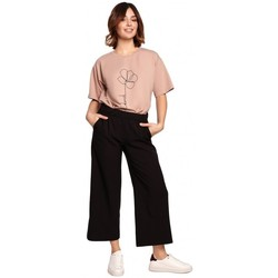 Kleidung Damen Fließende Hosen/ Haremshosen Be B188 Culottes mit elastischem Bund - schwarz
