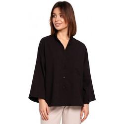 Kleidung Damen Hemden Be B191 Übergroßes Hemd mit Kragen - schwarz