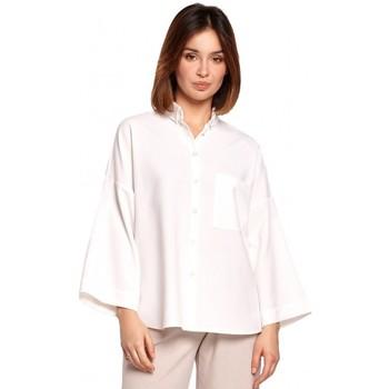 Kleidung Damen Hemden Be B191 Übergroßes Hemd mit Kragen - weiß