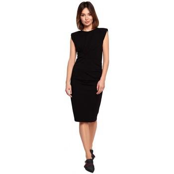 Kleidung Damen Kurze Kleider Be B193 Tailliertes Kleid mit gerüschten Seiten - schwarz