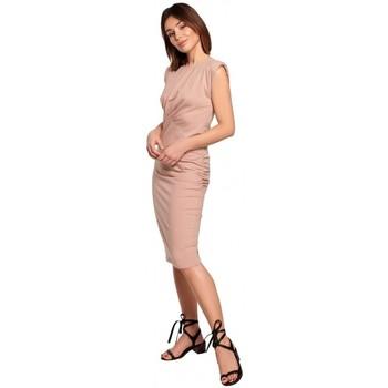 Kleidung Damen Kurze Kleider Be B193 Tailliertes Kleid mit gerüschten Seiten - mocca