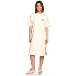 Kleidung Damen Kurze Kleider Be B194 Relaxed Fit T-Shirt Kleid - creme