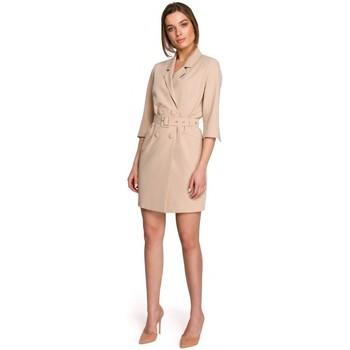 Kleidung Damen Kurze Kleider Style S254 Blazerkleid mit Schnallengürtel - schwarz