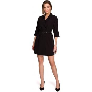 Kleidung Damen Kurze Kleider Style S254 Blazerkleid mit Schnallengürtel - grün