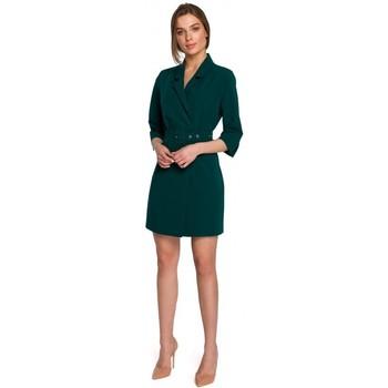 Kleidung Damen Kurze Kleider Style S254 Blazerkleid mit Schnallengürtel - königsblau