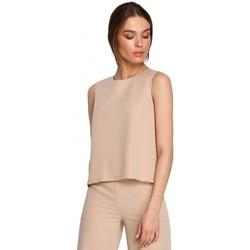 Kleidung Damen Tops / Blusen Style S257 Ärmellose Bluse - schwarz