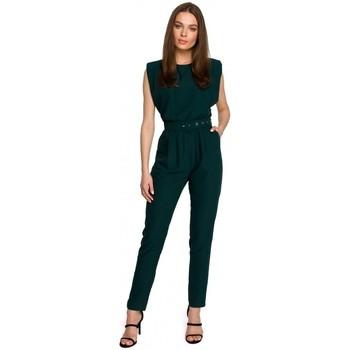 Kleidung Damen Overalls / Latzhosen Style S259 Ärmelloser Jumpsuit mit gepolsterten Schultern - Puder