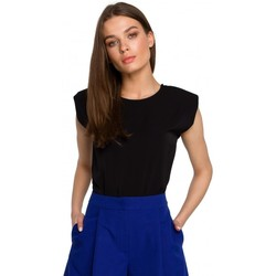 Kleidung Damen Tops / Blusen Style S260 Ärmellose Bluse mit gepolsterten Schultern - blau