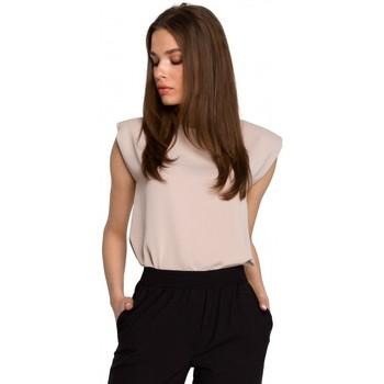 Kleidung Damen Tops / Blusen Style S260 Ärmellose Bluse mit gepolsterten Schultern - beige