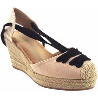 Schuhe Damen Leinen-Pantoletten mit gefloch Bienve Damenschuh  1gk-1081 beig Braun
