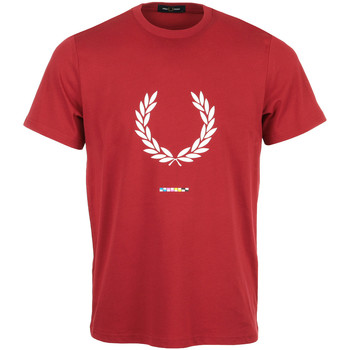 Kleidung Herren T-Shirts Fred Perry Print Registration T-Shirt Rot