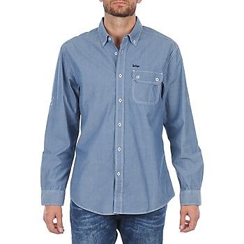 Kleidung Herren Langärmelige Hemden Lee Cooper Greyven Blau