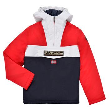 Kleidung Jungen Parkas Napapijri RAINFOREST POCKET Blau / Weiss / Rot