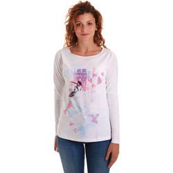 Kleidung Damen Langarmshirts Key Up 5G68S 0001 Weiß