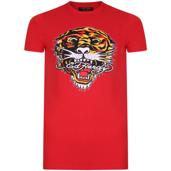 Kleidung Herren T-Shirts Ed Hardy - Tiger mouth graphic t-shirt red Rot