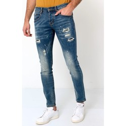 Kleidung Herren Slim Fit Jeans True Rise Destroyed Jeans Blau
