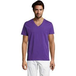 Kleidung Herren T-Shirts Sols Master camiseta hombre cuello pico Violeta