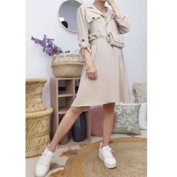 Kleidung Damen Kurze Kleider Fashion brands CD2293-BEIGE Beige