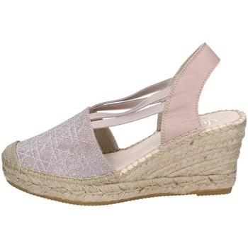 Schuhe Damen Leinen-Pantoletten mit gefloch Vidorreta 05500 NACKT