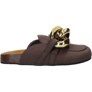 Schuhe Damen Leinen-Pantoletten mit gefloch Gold&gold A21 FL161 Braun