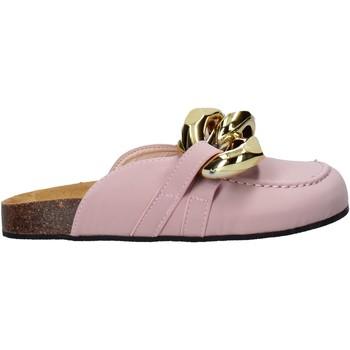 Schuhe Damen Leinen-Pantoletten mit gefloch Gold&gold A21 FL161 Rosa