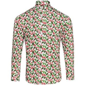 Kleidung Herren Langärmelige Hemden Christmas Shop CS001 Stechpalmenzweig weiß
