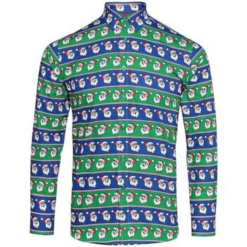 Kleidung Herren Langärmelige Hemden Christmas Shop CS001 Weihnachtsmann Blau/Grün