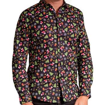 Kleidung Herren Langärmelige Hemden Christmas Shop CS001 Schwarz sortiert