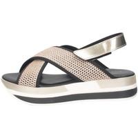 Schuhe Damen Sandalen / Sandaletten Pregunta ME2894 002 Sandalen Frau SCHWARZES GOLD SCHWARZES GOLD