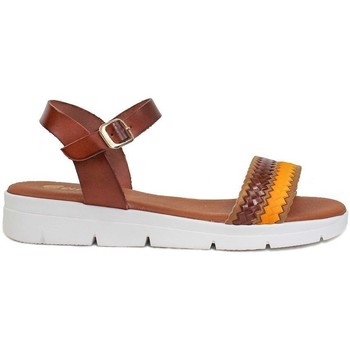 Schuhe Damen Sandalen / Sandaletten Gennia ALTEA Rindsleder braun, beige und senfgelb Braun