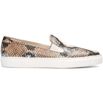 Schuhe Damen Slip on Gennia BEATRIZ Leder Python-Prägung Beige Beige