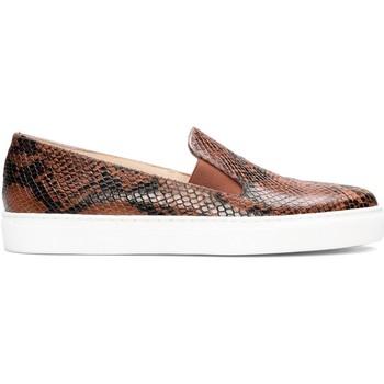 Schuhe Damen Slip on Gennia BEATRIZ Leder Schlange Braun und Schwarz Braun