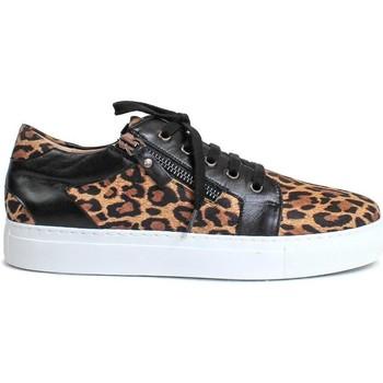 Schuhe Damen Sneaker Low Gennia BETH Napa Leder und Wildleder Leopard und Schwarz Other