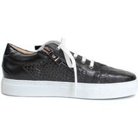 Schuhe Damen Sneaker Low Gennia BETH Napa Leder Croco Schwarz und Schwarz Schwarz