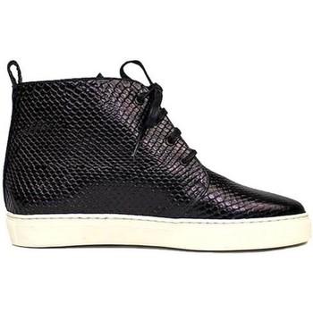 Schuhe Damen Boots Gennia BRISA Schwarz Schlangen Prägung Leder Schwarz