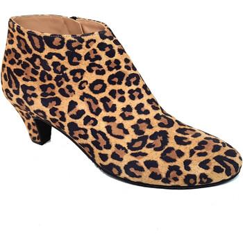 Schuhe Damen Low Boots Gennia ELIPE Veloursleder Leopard Braun