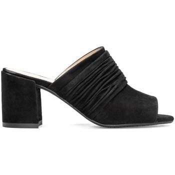Schuhe Damen Pantoffel Gennia INES Veloursleder Schwarz Schwarz