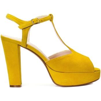 Schuhe Damen Sandalen / Sandaletten Gennia IRIS Veloursleder Gelb Gelb