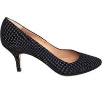 Schuhe Damen Pumps Gennia ISA Veloursleder Schwarz mit weißen Tupfen Weiß