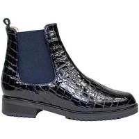 Schuhe Damen Boots Gennia JADA Lackleder Marineblau Blau