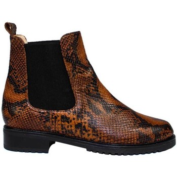 Schuhe Damen Boots Gennia JADA Braun Leder Schlangenprägung Braun