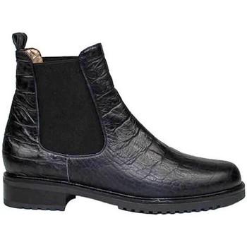 Schuhe Damen Boots Gennia JADA Schwarz Leder Kroko-Prägung Schwarz